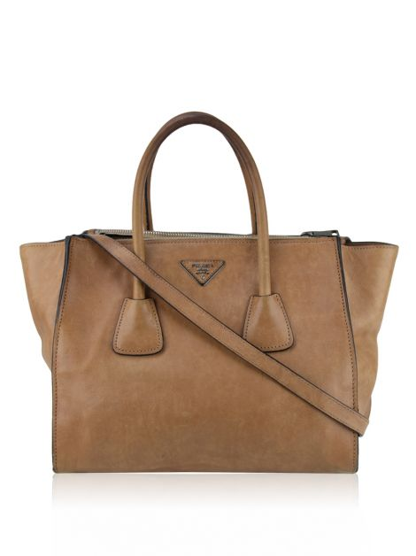 Bolsa Prada Glace Calf Twin Pocket Caramelo