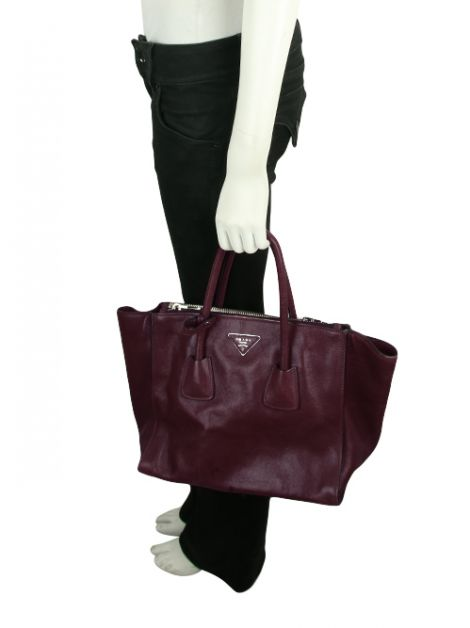 Bolsa Prada Glace Calf Twin Pocket Vinho