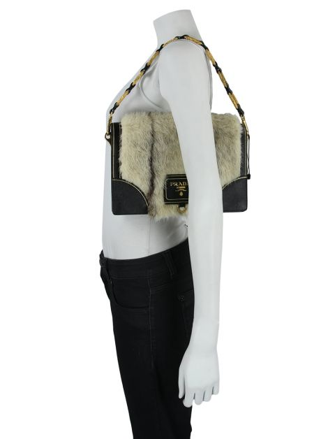 Bolsa Prada Mink Fur Accordion Flap Bag