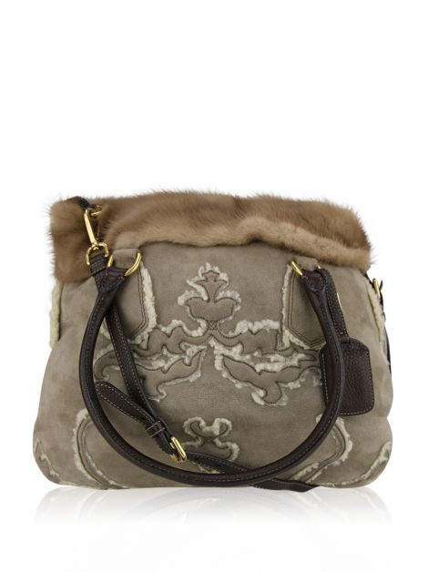 Bolsa Prada Shearling And Mink Trim Tote