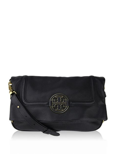 Bolsa Tory Burch Amanda Royal Tan Foldover Messenger Preta
