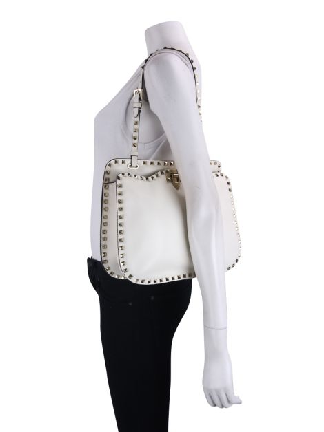 Bolsa Valentino Rockstud Shoulder Off White