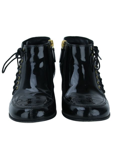 Bota Chanel Black Patent Leather Side-Lace Ankle Boots