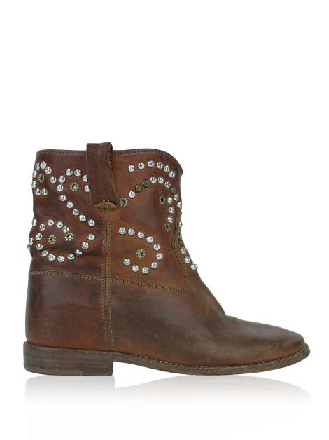 Bota Isabel Marant Caleen Studs Couro Caramelo