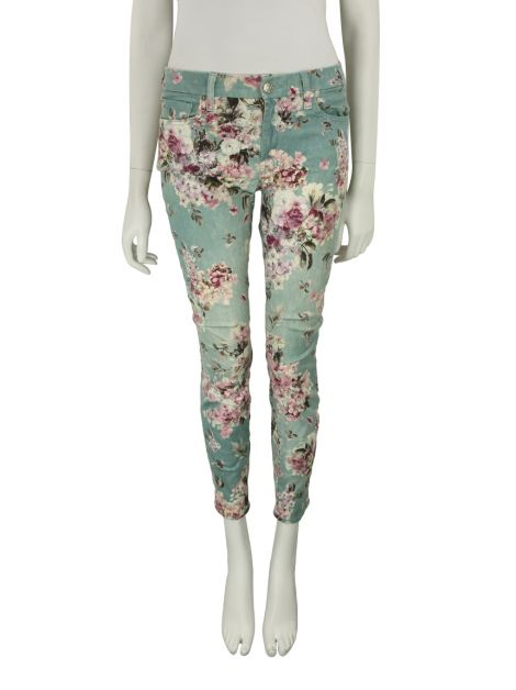 Calça Seven For All Mankind Aqua-Blue Floral-Print Skinny Jeans