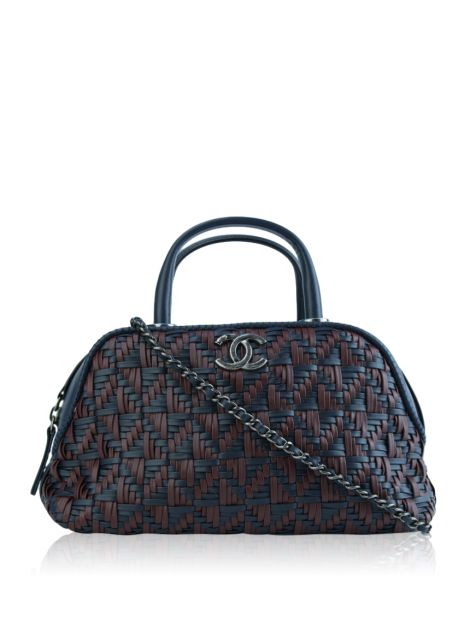Bolsa Chanel Calfskin and Braided Fabric Bowling Bag