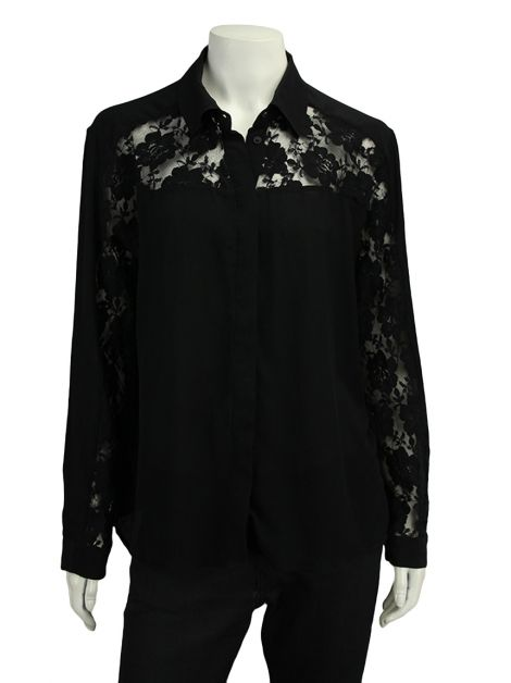 Camisa All Saints Renda Preta