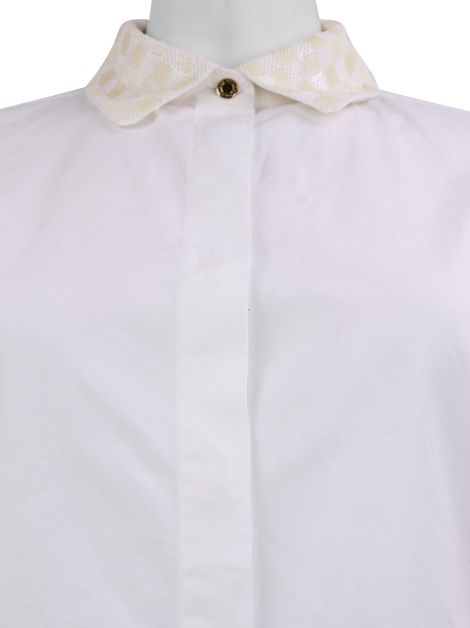 Camisa Louis Vuitton Paetês Off-White