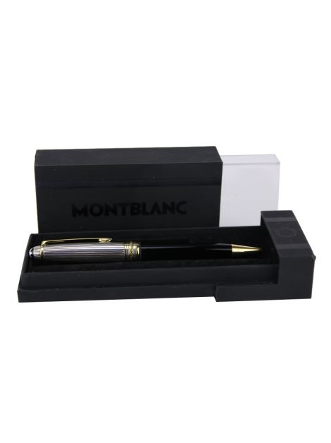 Caneta Montblanc Meisterstuck Solitaire Doué Sterling Silver Preta
