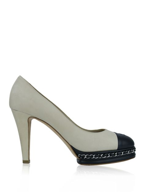 Sapato Chanel Cap Toe Chain Platform Pumps