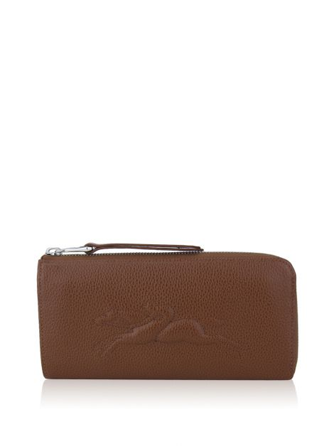 Carteira Longchamp Le Foulonne Zip-Around Marrom