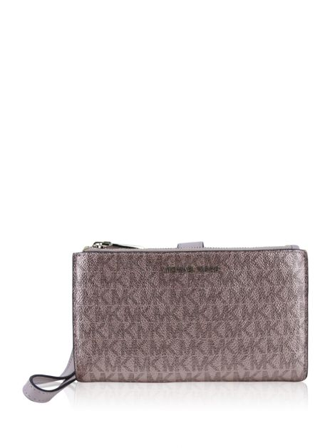 Carteira Michael Kors Metallic Signature Double-Zip Wristlet