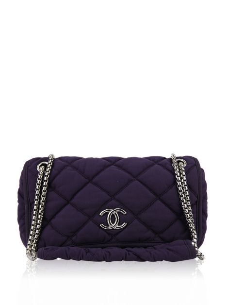Bolsa Chanel CC Chain Bubble Quilt Roxo