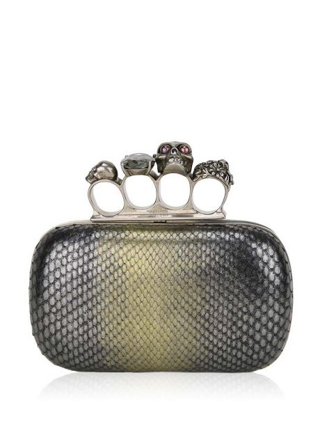 Clutch Alexander McQueen Knuckle Box Python