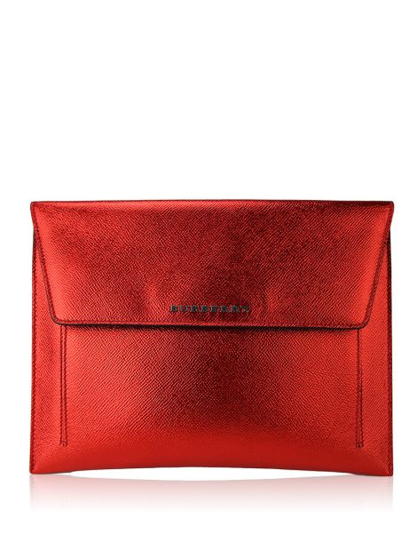 Clutch Burberry Metalizada Vermelha
