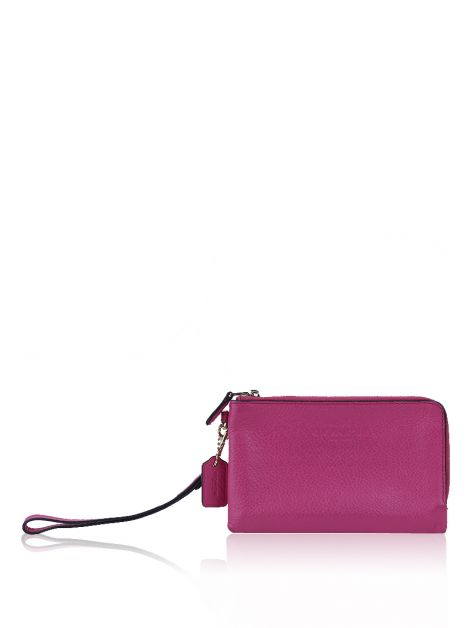 Clutch Coach Wristlet Double Zip Couro Rosa