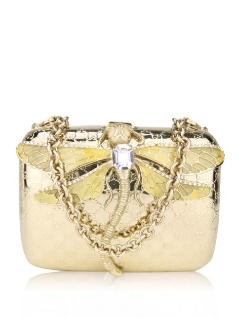 Clutch Gucci Dragonfly Minaudiere Evening Dourada