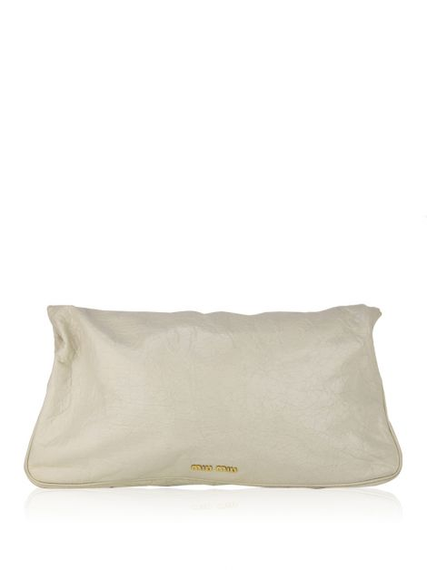 Clutch Miu Miu Fold Over Craquele Off-White