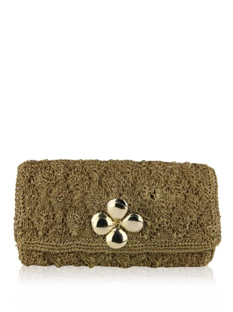 Clutch Mixed Palha com Flor