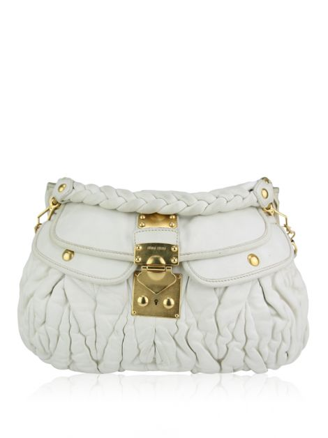 Bolsa Miu Miu Coffer Hobo Off White