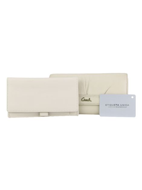 Conjunto Carteira e Porta Cheque Coach Off-White