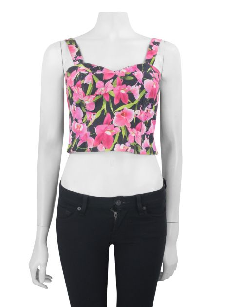 Cropped Mixed Tecido Floral