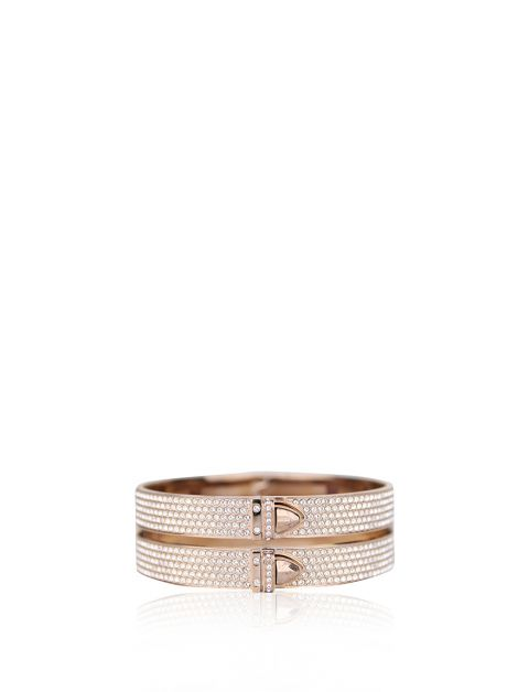 Pulseira Swarovski Distinct White Crystal Double Bangle Rosê