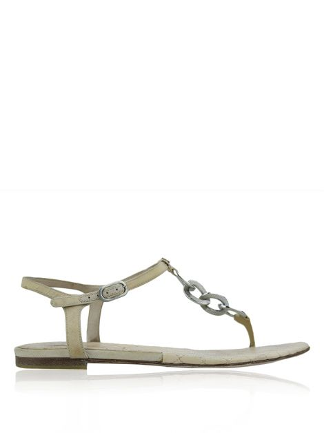 Flat Chanel Chain Link Nude