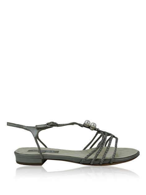 Flat Chanel Couro Verde
