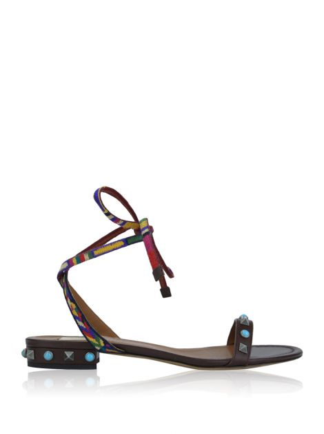 Flat Valentino Rolling Rockstud Embroidered Couro