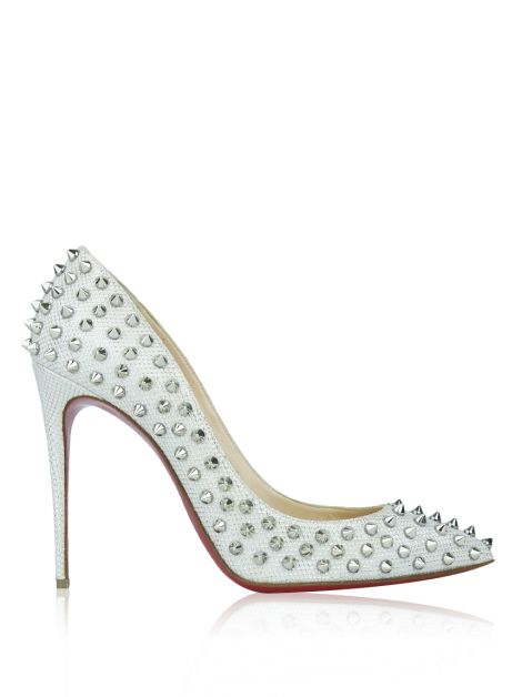 Sapato Christian Louboutin Follies Spikes Off White
