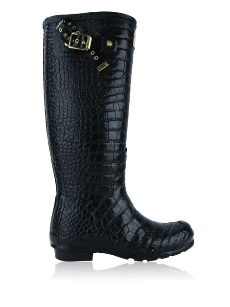 Galocha Hunter & Jimmy Choo Croco Preta
