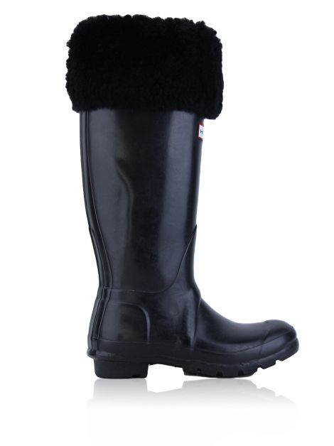 Galocha Hunter Hampstead Tall Cuff Preta