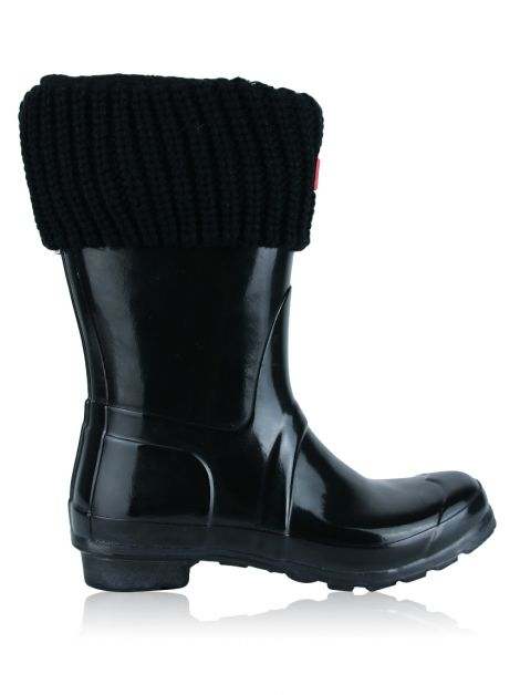 Galocha Hunter Short Gloss Wellington Boots Preta