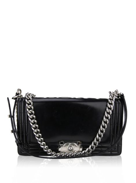 Bolsa Chanel Glazed Calfskin Medium Boy Preto
