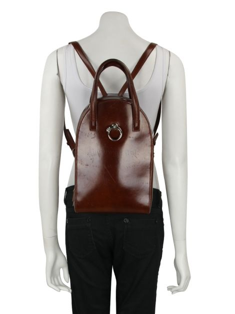 Mochila Cartier Panthère Leather Backpack Marrom