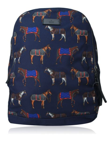 Mochila Gucci Horse Print Backpack Blue Red Estampada