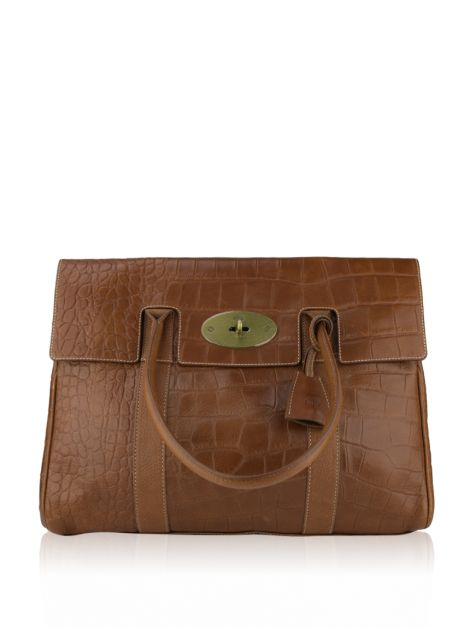 Bolsa Mulberry Croc Embossed Bayswater Caramelo
