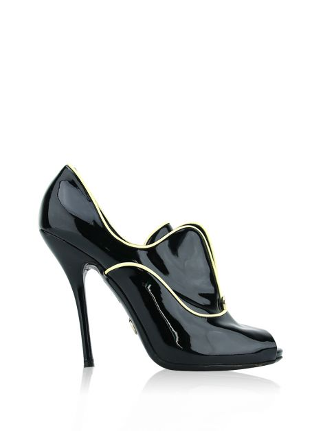Ankle Boot Gucci Patent Leather Peep-Toe Preta