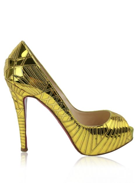 Peep Toe Christian Louboutin Very Galaxy Dourado
