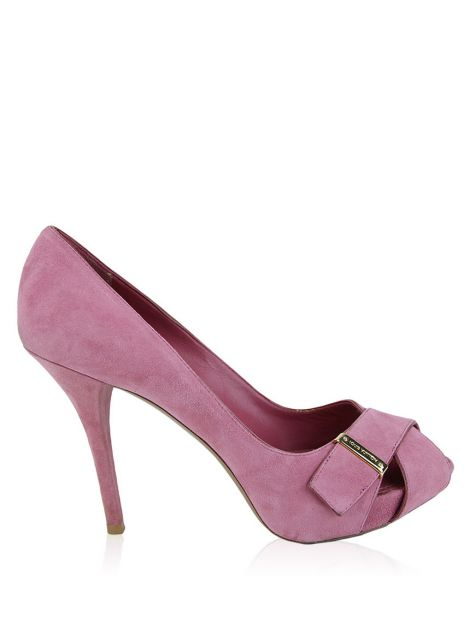 Peep Toe Louis Vuitton Camurça Rosa