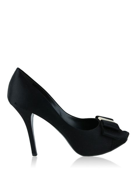 Peep Toe Louis Vuitton Cetim Preto