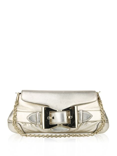 Clutch Gucci Queen Gold Bow Buckle Dourada