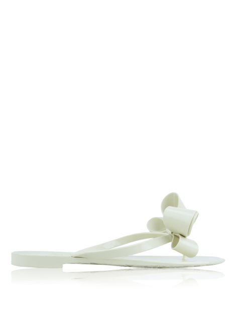 Rasteira Valentino Bow Jelly Flat Thong Off White