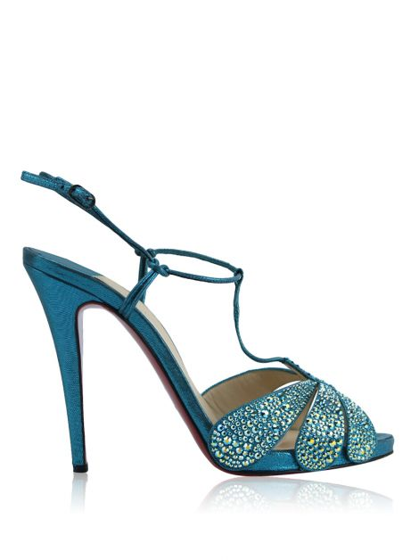 Sandália Christian Louboutin Margi Diams Azul