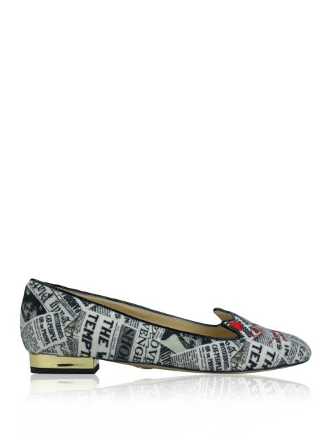 Sapatilha Charlotte Olympia Newspaper Collage Kitty Estampado