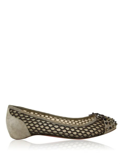 Sapatilha Christian Louboutin Mix Spikes Flat Bege