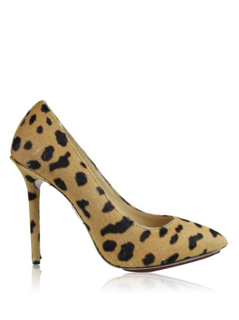 Sapato Charlotte Olympia Monroe Leopard-Print Pony Hair Pumps