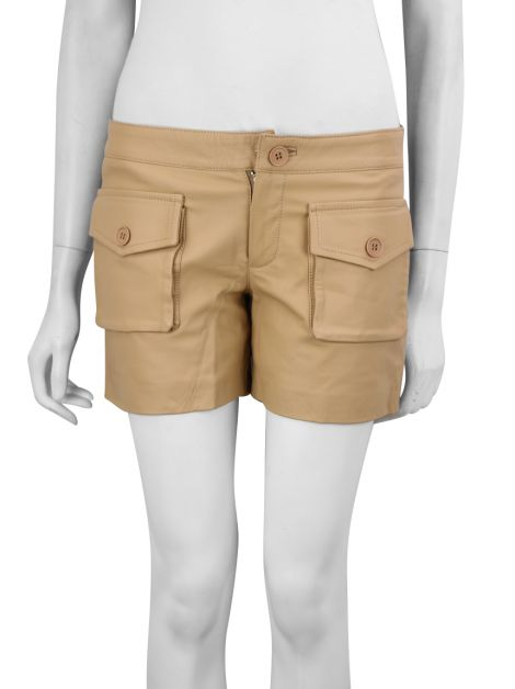 Shorts Ateen Couro Bege
