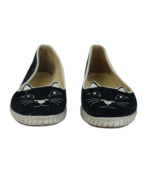 Slipper Charlotte Olympia Kitty Velvet Preto
